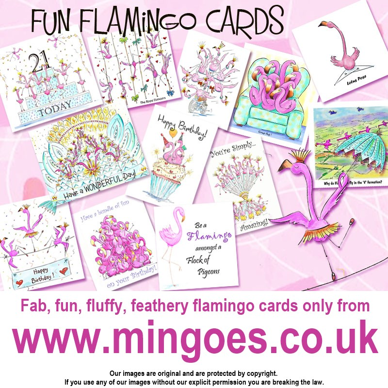 40th Flamingo card with envelope